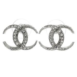 CHANEL Large Silver CC Crescent Moon Dubai Crystal